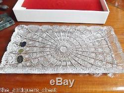 Crystal cut Bohemia BARDEJOV Zchekoslovakia Queens Lace tray, 13x 7NIBa5
