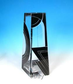 Czech Karl Palda Deco Art Glass Geometric Flashed Cut Black Satin Crystal Vase