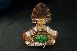 Czech Perfume Bottle Pink Cut Crystal with Original Golden Medallion Vintage