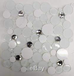 DIAMOND DAZE White Marble Bubbles Tile Diamond cut Glass Crystal Mosaic Tiles