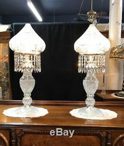 Decorator Pr Large 33 Cut Glass Crystal Lamps Dome Top 25 Beveled Prisims Each