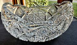EXQUISITE Vintage Deep Hand Cut Brilliant Glass Crystal OVAL Bowl GORGEOUS