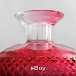 Edinburgh Crystal Thistle Decanter Ruby Cut Glass Scottish Art Glass Antique