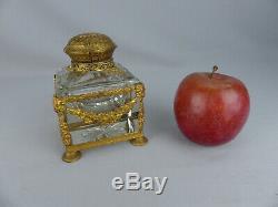 Elegant Antique French Gilt Bronze Ormolu and Crystal Cut Glass Inkwell