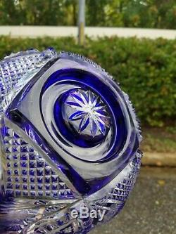 Exceptional Cobalt Cut To Clear Crystal Glass Bowl 11x6.5