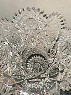 Exceptional Rare ABP American Brilliant Cut Crystal Glass Vase Height 14