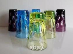 Faberge Bubbles Colored Cased Cut To Clear Crystal Vodka Shot Glasses, Set Of 6