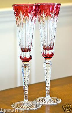 Faberge Grand Palais Champagne Flutes Glasses Cased Cut To Clear Crystal