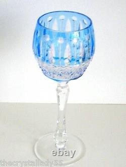 Faberge Xenia Imperial Azure Blue Cased Cut To Clear Crystal Wine Goblet Signed