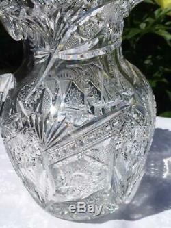 Fabulous American Brilliant Period ABP Cut Crystal Glass Water /Lemonade Pitcher