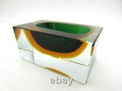 Faceted brick block cut bowl green & amber Murano glass sommerso