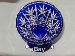 Fantastic Antique Bohemian Cut To Clear Cobalt Blue Large 11 Crystal Glass Vase
