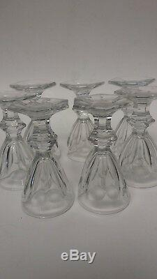 Fine French Baccarat HARCOURT PATTERN cut Crystal Set 7 (SEVEN) CORDIAL GOBLETS