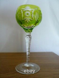 Five Traube By Nachtmann Bohemian Crystal Wine Hock Goblets 6-7/8 Cut To Clear
