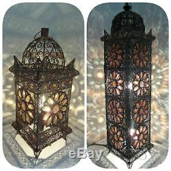 Floor / Table Lamp Bronze Moroccan Style Jewelled Cut work Flower Stunning