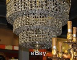 French Art Nouveau Chandelier Light Ormolu and Cut Crystal Glass