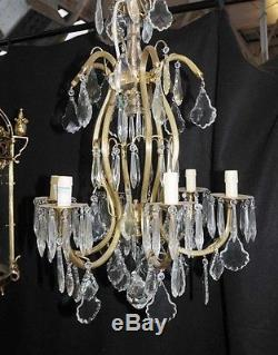 French Art Nouveau Chandelier Ormolu Light Lamp Cut Crystal Glass
