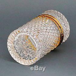 French Clear Crystal Glass Hinged Trinket Jewelry Box Casket Ormolu, Diamond Cut