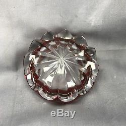 French Crystal Cut To Clear St Louis Ruby Star Cut Ash Receiver / Ashtray