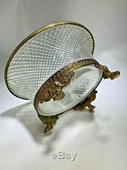 French Ormolu Doré Bronze Cut Diamond Crystal Gilt Paw Feet Centerpiece Bowl