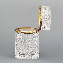 French clear crystal glass hinged trinket jewelry Box ormolu mounts diamond cut