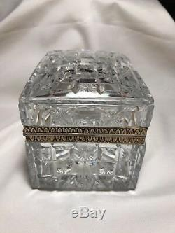 French signed Baccarat Bronze mounted Cut Crystal Jewelry Box