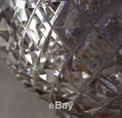 Georgian Antique Cut Crystal Glass Decanter St Louis Neck Diamond Pattern