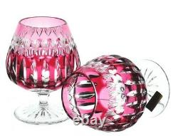 German Cranberry Cut to Clear Cased Crystal Brandy Snifters Glass Pair