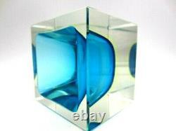 Glowing Poli Seguso era Murano blue & UV sommerso art glass facet cut block bowl