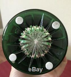 Gorgeous Bohemian Emerald Green Cut Clear Crystal Vase 10 EXCELLENT