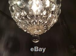 Gorgeous Vintage French Cut Crystal Glass Bag Chandelier, c1920s