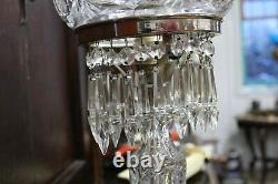 Great Hand Cut Glass Crystal Dome Mushroom Table Lamp Amazing Design, Prism