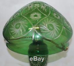 Green Crystal Overlay Cut Glass Mushroom Lamp