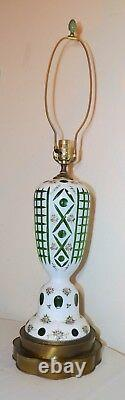 HUGE antique cut to clear Bohemian Czech glass crystal table floral lamp green