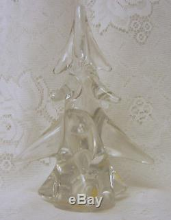 Hand Cut Solid Crystal Art Glass 8'' CHRISTMAS TREE Rare LEONARD Italy