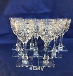 Hawkes WOODMERE 7240 Cut Crystal Claret Wine Glasses NY Signed Set of 9