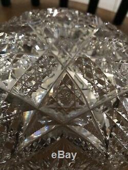 Hoare American Brilliant Cut Crystal Bowl Antique Cut Glass Unsigned