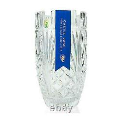 House of Waterford 10 Handmade Coin, Fan & Wedge Cut Crystal Castle Vase