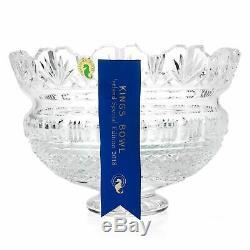 House of Waterford 10 Handmade Diamond, Olive & Wedge Cut Crystal Kings Bowl