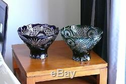 Huge CRYSTAL BOWL /FRUIT VASE 21x32 cm PURPLE Cut to clear overlay, RUSSIA, New