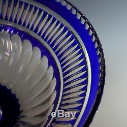 Huge Cobalt Blue Cut-To-Clear Bohemian Crystal Glass Centerpiece
