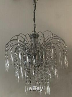 JOHN LEWIS CRYSTAL CUT GLASS CHROME CHANDELIER CEILING LIGHT WATERFALL Pendant