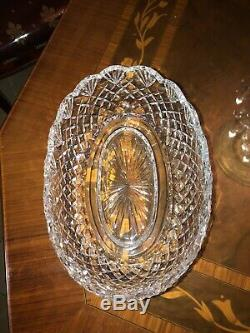 LARGE RARE 11. / Waterford MASTER CUTTER CUT CRYSTAL OVAL BOWL EXCELLENT