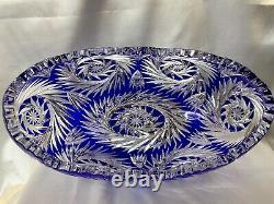 LG RARE ATQ GERMAN IMPERLUX COBALT BLUE CUT to CLEAR CRADLE STYLE CRYSTAL BOWL