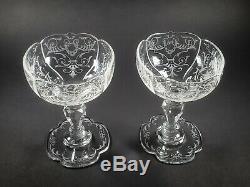 LOBMEYR Glass Crystal Austrian Hand Cut & Engraved Pair Champagne Stems c1870