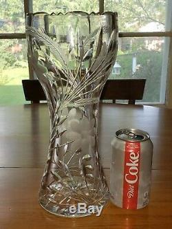Large 16 Antique ABP American Brilliant Deep Cut Crystal Vase/ Art Nouveau