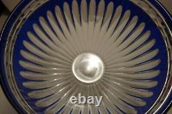 Large AJKA Clarendon Cased Cobalt Blue Cut to Clear Centerpiece Bowl 13 1/2