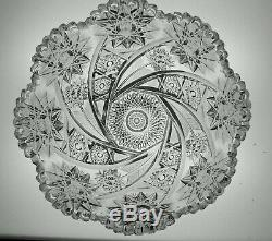 Large Abp Cut Glass Crystal Bowl Signed Libbey In The Comet Pattern