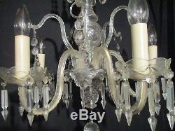 Large Antique Crystal Cut Glass Chandelier Stunning Hanging Light Fixture