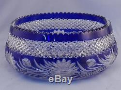 Large Bohemian Cobalt Blue Crystal Hand Cut to Clear Badash Bleikristall Bowl
